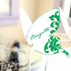 Editable Damask Butterfly Printable Place Cards Clover Green - The Printable Shoppe