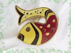 David Andersen ~ Norway Sterling Silver - Guilloche Yellow & Red Enamel Fish Brooch - Vintage Vermont Estate Treasure