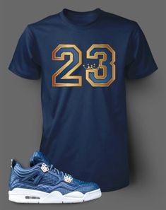 7fc8cfc7e53 Graphic Navy T Shirt To Match Retro Air Jordan 4 Obsidian Shoe