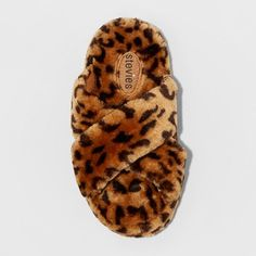 Girls' Stevies #check Cross Band Leopard Print Slipper - Brown, Size: L (4-5)