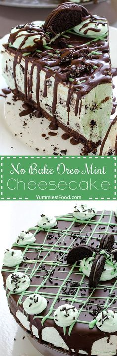 No Bake Oreo Mint Cheesecake - try to make this Cheesecake, and you will see that you have never made easiest cake that is so yummy! So easy to make without baking, Oreo Mint Cheesecake! (easy desert recipes no bake) No Bake Desserts, Easy Desserts, Delicious Desserts, Yummy Food, Mint Desserts, Holiday Desserts, Oreo Desserts, Easy Sweets, Baking Desserts