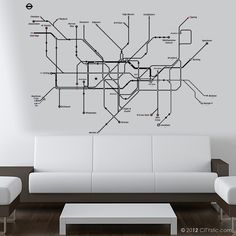 LONDON : WALL DECAL - Huge Underground Tube map with color dots for subway lines and names.. $75.00, via Etsy.