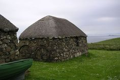 A blackhouse of the Isle of Tiree, Scottish Inner Hebrides; a stone and thatched roof vernacular house.