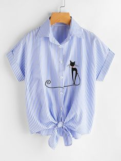 Material: Polyester Color: Blue Pattern Type: Striped, Embroidered Collar: Lapel Style: Casual, Cute Type: Equipment Decoration: Button Sleeve Length: Short Sleeve Fabric: Fabric has no stretch Season: Summer Bust(Cm): S:100cm, M:104cm, L:108cm, XL:112cm Length(Cm): S:58cm, M:59cm, L:60cm, XL:61cm Sleeve Length(Cm): S:26cm, M:27cm, L:28cm, XL:29cm Size Available: S,M,L,XL