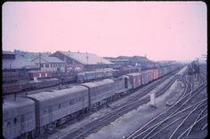 Pennsylvania Railroad shops and yard about 1960 Railroad Pictures, Pennsylvania Railroad, Train Art, Old Trains, Black N White Images, Color Photography, Wonderful Places, Yards, Places To See