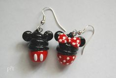 Minnie and Mickey Mouse Cupcake Dangle Earrings