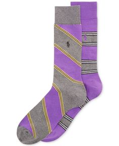 Polo Ralph Lauren Men's Big and Tall Striped Socks 2-Pack