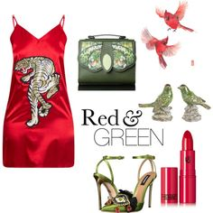A fashion look from April 2017 by greensparkle1 featuring Dsquared2, Lipstick Queen, A&B Home, red, GREEN, bird et tiger