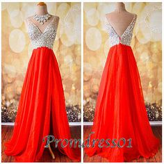 Red chiffon long prom dress for teens, cute v-neck senior prom dress with slit,modest ball gown 2016 #coniefox #2016prom