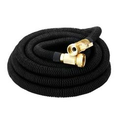 [New Version] Homitt Expanding Hose with Double Latex Core, Solid Brass Connector and Extra Strength Fabric for Expandable Garden Hose& Black