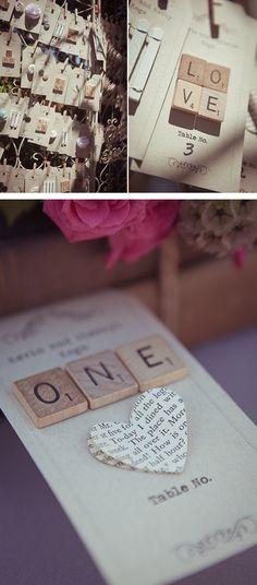 Love the idea of using scrabble tiles for table numbers some how.