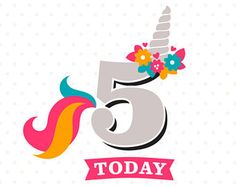 5th Birthday SVG, Unicorn Birthday SVG, Unicorn Party svg, Fifth Birthday iron on file, 5th Birthday Shirt SVG file, Five Years Old cut file