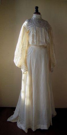 Antique silk wedding dress 19th c