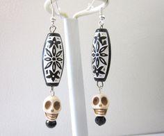 White Skull Earrings Black Day of the Dead by sweetie2sweetie