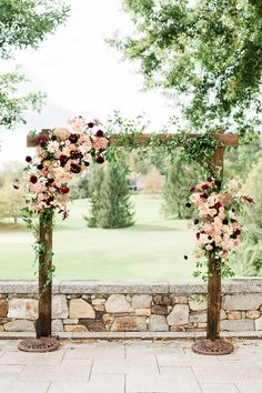 Fall wedding arches - Fall burgundy wedding arch Fall burgundy wedding arbor Dahlia wedding arch Burgundy and blush arch Photo by AJ Dunlap Blush Fall Wedding, Burgundy And Blush Wedding, Fall Wedding Arches, Floral Wedding, Diy Wedding Arch Flowers, Light Wedding, Wedding Colours, Outdoor Wedding Arches, Wedding Inspiration