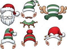 Christmas Hats by memoangeles Cartoon Christmas Hats. Vector clip art illustration with simple gradients. Each on a separate layer. Elf Drawings, Hat Vector, Vector Art, Clip Art, Free Cartoons, Christmas Characters, Theme Noel, Topper, Graphic Design Trends