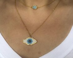 Miyuki butterfly necklace with gold filled chain designed by ZDA, beaded butterfly necklace for women Bead Jewellery, Dainty Jewelry, Womens Jewelry Rings, Handmade Jewelry, Women Jewelry, Jewelry Bracelets, Necklaces For Women, Fine Jewelry, Evil Eye Necklace