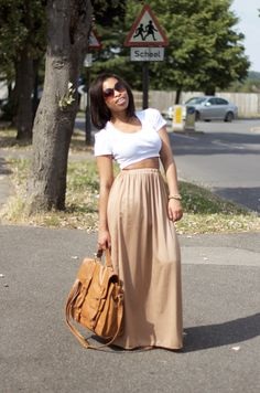 love the neutral shades...beige-ish brown maxi with a deep side split and a white short sleeve crop top  #EarlyFallOutfit
