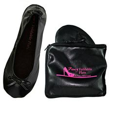 849e14200550 Plus size black shoes size 11 to 12 Womens Foldable ballet Flats with EXPANDABLE  TOTE Bag for Carrying High Heels Portable Travel Fold up or Folding Shoes