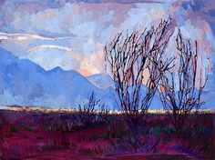 Ocotillo On Blue Painting by Erin Hanson