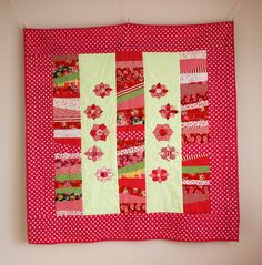 Sweet Quilt with Appliqued Flowers Girls by SewingLadyQuiltings