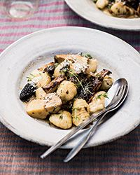 These terrific, plump potato gnocchi are topped with mushrooms that have been sautéed with plenty of garlic, white wine and fresh herbs