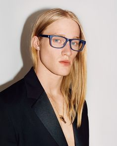 Model Mark Maceachen wears men's Calvin Klein Collection optical in the Fall 2016 global campaign. Shoes Ads, Sunglasses Shop, Calvin Klein Collection, Silhouette Design, Sophisticated Style, Male Models, Eyewear, Victoria Secret, Long Hair Styles