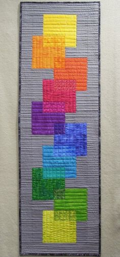 Rainbow Transparency Skinny Quilt by Terry Aske Art Quilt Studio.