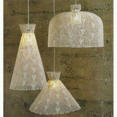 Pendant light suits for decorative flair for your home and garden. Although pendant light looks like. There are some methods in hanging the pendant light. Crochet Lampshade, Crochet Fabric, Love Crochet, Beautiful Crochet, Diy Crochet, Crochet Crafts, Crocheted Lace, Lace Lampshade, Crochet Doilies