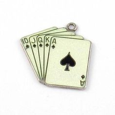 Sterling Silver Playing Cards Royal Flush White Enamel Charm