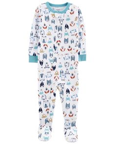 With just one zip, he's ready for bed in no time! Carter's cotton PJs are not flame resistant. But don't worry! They're designed with a snug and stretchy fit for safety and comfort.