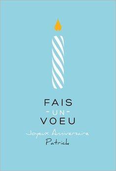 Carte Joyeux anniversaire bougie bleue à personnaliser !  Disponible en 4 formats et en 2 couleurs à partir de 0.62€ sur Popcarte.com