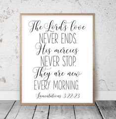 His Mercies Are New Every Morning, Lamentations Bible Verse Printable Wall Art, Christian Gifts, Scripture Printable Nursery Prints Bible Verse Wall Art, Bible Verse Signs, Bible Verses Quotes, Tafel Clipart, Christian Wall Art, Christian Gifts, Lamentations 3 22 23, Love One Another Quotes, New Every Morning