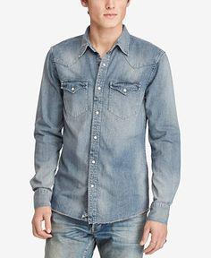 Denim & Supply Ralph Lauren Men's Slim-Fit Cotton Denim Western Shirt - Casual Button-Down Shirts - Men - Macy's