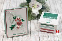 12 Karten bis Weihnachten #2 Christmas Paper Crafts, Stampin Up Christmas, Christmas Cards To Make, Xmas Cards, Holiday Cards, Candy Cane Reindeer, Candy Cane Ornament, Christmas Flyer, Christmas Candy
