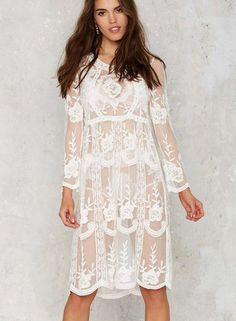 The cover-up dress features round neck, pullover style, long sleeve, floral lace and solid color.;Polyester, soft and comfortable;Swim suit coverup with a beautiful crocheted design.;Long sleeves provides more protection from the sun.;Perfect for use at a