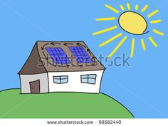 stock-vector-doodle-drawing-solar-energy-concept-renewable-sun-power-with-photovoltaic-cells-on-house-roof-98562440.jpg (450×338)