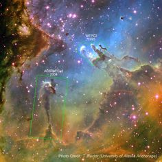 Eagle Nebula - Stunning Hubble Image with Identifiers - Awesome Stories photo credit: T. Rector