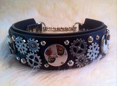Steampunk Leather Martingale Dog Collar
