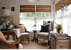 11 Prestigious Cafe Curtains for Living Room Collection - Living Room Ideas Kitchen Sitting Areas, Sitting Rooms, Cafe Curtains, Curtains Drawn, Short Curtains, Bamboo Shades, Living Spaces, Living Room, Cottage Living