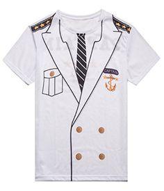 MRZONE Men's Captain Costume Halloween T-shirt (2XL, Captain Costume) #Sailor Halloween Costumes Sailor Halloween Costumes, Captain Costume, Coat, T Shirt, Jackets, Shopping, Fashion, Supreme T Shirt, Down Jackets