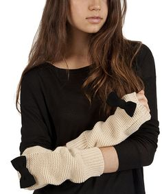 Another great find on #zulily! Plush Cream & Black Bow Arm Warmers by Plush #zulilyfinds