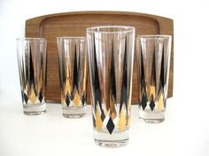 Vintage Glass Tumbler Set Gold Black Diamond Arrow Tapered Cocktail Glasses Barware Mid Century Tall Atomic Zombie Chimney Weighted Bottom by BrooklynStVintage on Etsy
