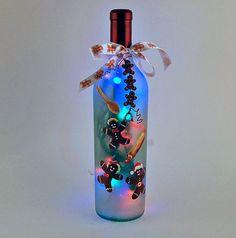 Wine Bottle Crafts with Lights | ... Wine bottle light gingerbread man by ... | Crafts - bottles