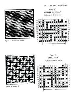 Mosaic Knitting Barbara G. Walker (Lenivii gakkard) Mosaic Knitting Barbara G… Intarsia Patterns, Fair Isle Knitting Patterns, Knitting Charts, Mosaic Patterns, Knitting Stitches, Knitting Designs, Stitch Patterns, Crochet Patterns, Mosaic Knitting