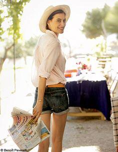 nès de la Fressange   denim shorts + light, loose unironed white shirt