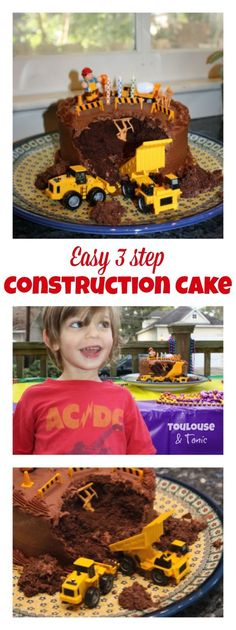 Easy 3 step DIY Construction Birthday Cake for boys - or girls who like dump trucks, cement trucks... I have never done anything so easy yet gotten so many compliments -