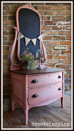 Scandinavian Pink and Old White Dresser with a Natural Top - {createinspire}: Antique Chest of Drawers in Scandanavian Pink #shabbychicdresserspink #shabbychicdresserswhite
