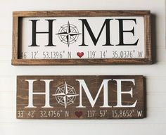 First home coordinate sign - New home gift - coordinate sign – gps sign – first home sign – personalized wood sign – gps coordinates gif - First Home Gifts, New Home Gifts, Personalized Wood Signs, Wooden Signs, Diy Signs, Home Signs, Boho Chic, Trendy Home, Home Crafts