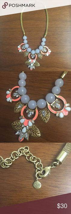 Stella & Dot Riviera Statement Necklacs This is the Stella & Dot Riviera Statement Necklace, which has gray beads, hand cast leaves and coral enamel in a truly unique and whimsical design. Gold mesh chain, 19 inches long with a 3 inch extender. Lobster claw clasp. As shown - missing the detachable chiffon leaves that came with the original, but still in like new condition. Only used as a business sample. ***My Closet Rules: no trades, no offline transactions*** Thanks for looking! Stella…
